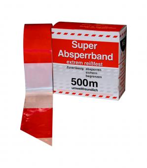 Absperrband rot/weiß  [ Rolle 500 m ]